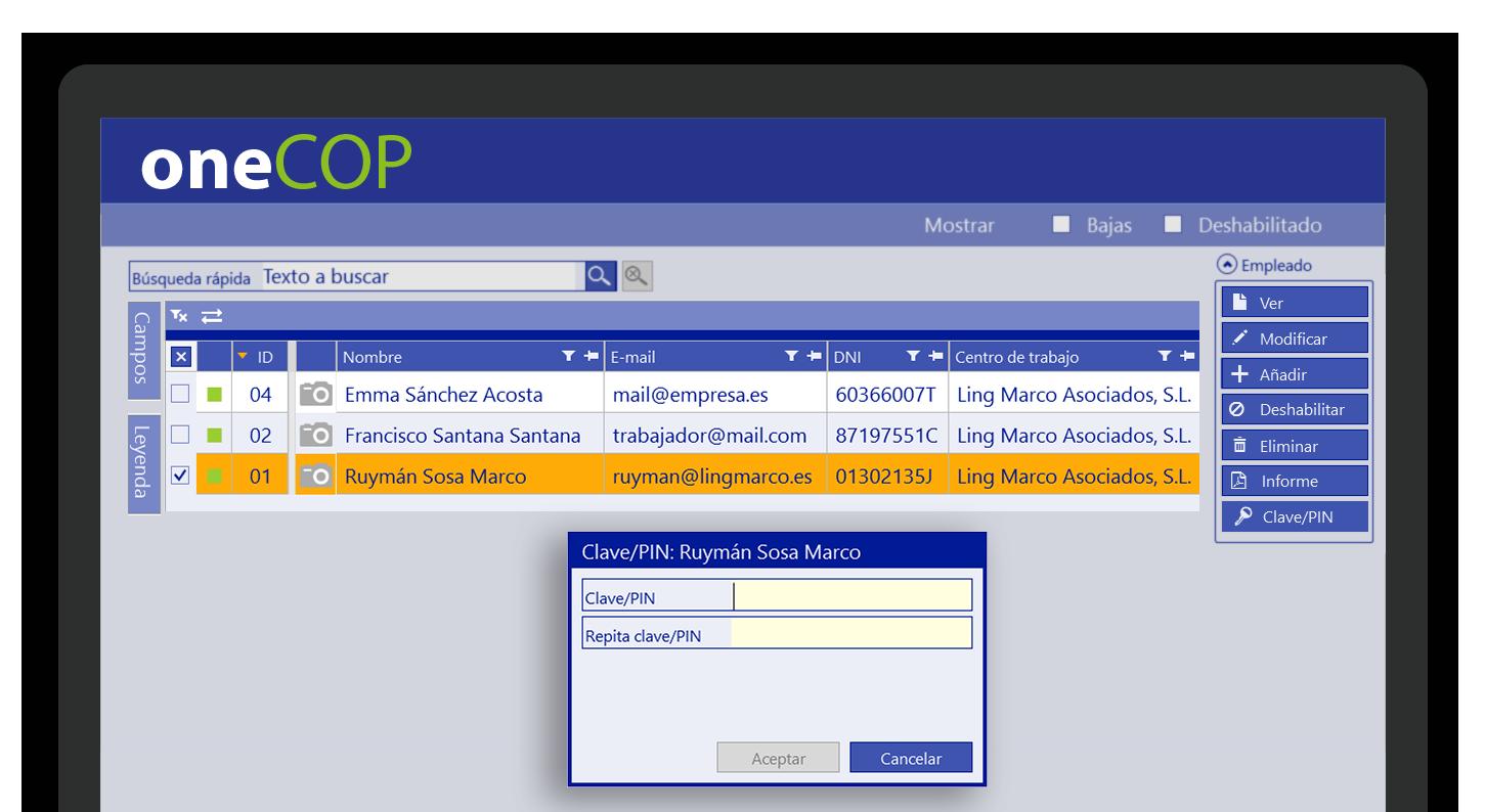 oneCOP App para la gestión de los fichajes de sus trabajadores