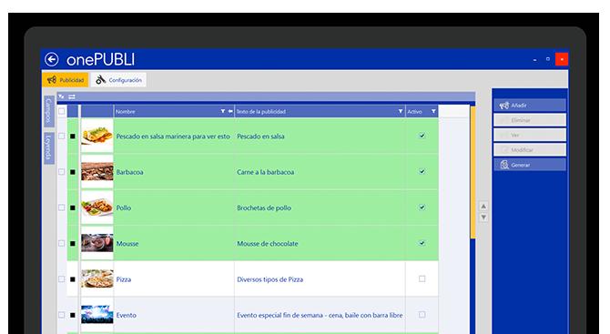 onePUBLI. App para la gestión de pantallas dinámicas. Publicita al instante todos tus productos y servicios.